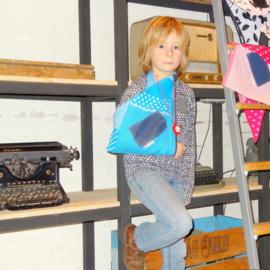 Kinder mitella patchwork licht blauw