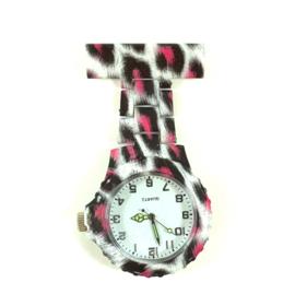 Verpleegkundige horloge schakel & print Pink Leopard
