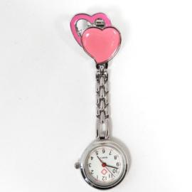 Verpleegkundige horloge metal hart licht roze