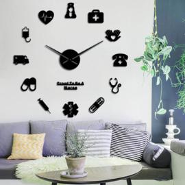 DIY klok voor aan de muur Verpleging Zwart