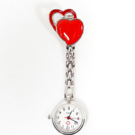 Verpleegkundige horloge metal hart rood
