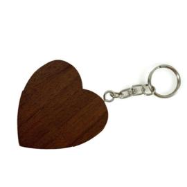 Houten USB stick hart (kleur donker)