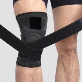 Elastische kniebandage sportbrace zwart/grijs