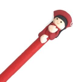 Grappige zorg pen zuster-verpleegkundige rood
