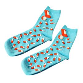 Verpleegkundige sokken pillen- lichtblauw/aqua