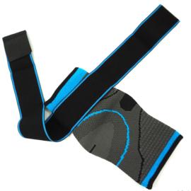 Elastische enkelbandage sportbrace grijs/blauw
