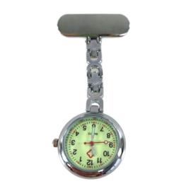 Schakel horloge - zorg - Glow in the dark - zilver