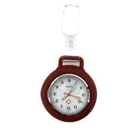 Horloge met PU clip Pastel - Bordeaux