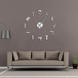 DIY klok voor aan de muur Barber Zilver
