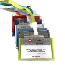 Acryl Pashouder / badgeholder + Lanyard - Lime