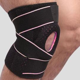 Knie Brace Topline strings + gel pelotte zwart/Roze
