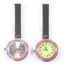 Luxe verpleegster horloge moderne clip pink