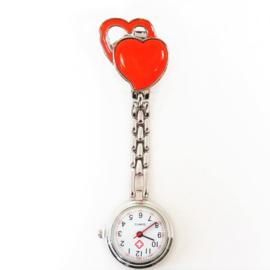 Verpleegkundige horloge metal hart oranje