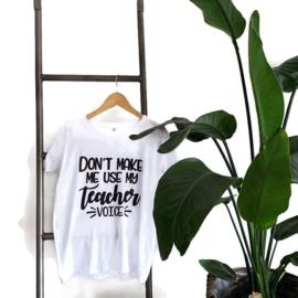 T-shirt Wit - meester - juf - docent Teachervoice