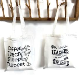 Canvas tas - Meester Juf - Coffee Teach Sleep Repeat