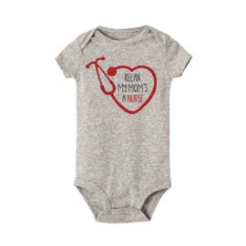 Baby Rompertje - Hart & Stethoscoop - Nurse Grijs