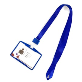 Metalic Pashouder - Badgeholder + Lanyard - Blauw