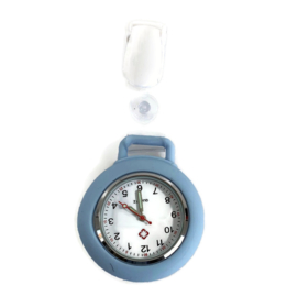 Horloge met PU clip - Pastel blauw