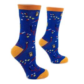 Happy2Care sokken Vaccinatie & pillen - Oranje blauw