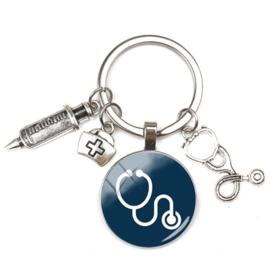 Sleutelhanger bedels stethoscoop blauw