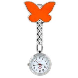 Verpleegstershorloge metal vlinder oranje