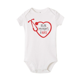 Baby Rompertje Hart & Stethoscoop - Nurse Wit