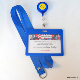 ZIPPER -JOJO + BADGE + LANYARD HAPPY FACE BLAUW