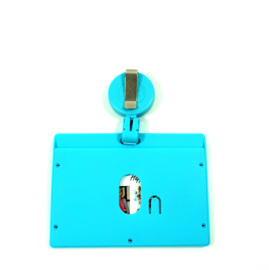 Badge/ID holder + zipper Aqua
