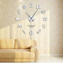 DIY klok voor aan de muur Verpleging Zilver