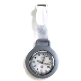 Horloge met PU clip - Grijs