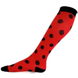 Compressie kousen Rood Zwart dots