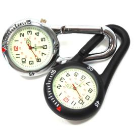 Stoer Medisch horloge Karabijn Haak zilver-zwart