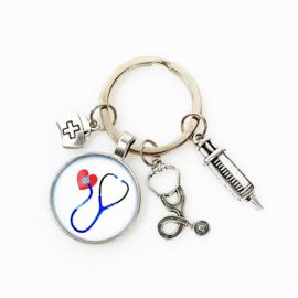Sleutelhanger bedels stethoscoop & zorghart