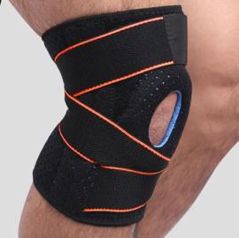 Knie Brace Topline strings + gel pelotte zwart/Oranje