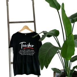 T-shirt Zwart - meester - juf - docent - Definitie