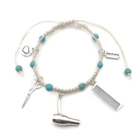 Armband knoop + bedeltjes - kapper