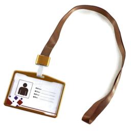 Metalic Pashouder - Badgeholder + Lanyard - Goud