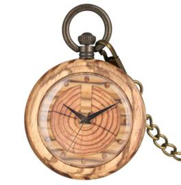 """Zakhorloge - doktershorloge hout -""""Jaar-Ringen"""""""