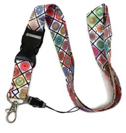 Lanyard - keycord - Mandala in vrolijke kleuren