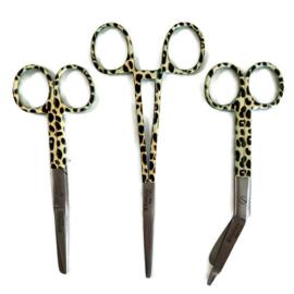 Scharenset Leopard Beige/Zwart (kocher - verpleegkundige schaar & verbandschaar)