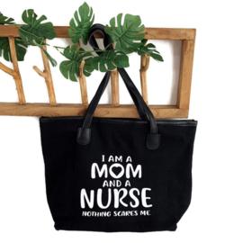 Schoudertas Verpleegkunde -Non Scared - Mom & Nurse Zwart
