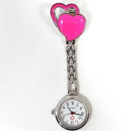 Verpleegkundige horloge metal hart roze-pink