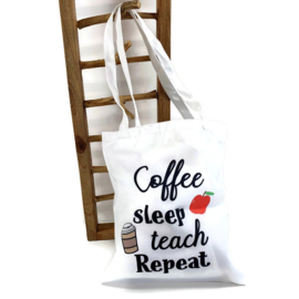Canvas tas - Meester Juf - Teaching & Coffee