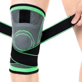 Elastische kniebandage sportbrace groen/grijs