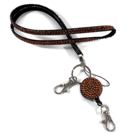 Zipper- jojo- & keycord strass koperbruin
