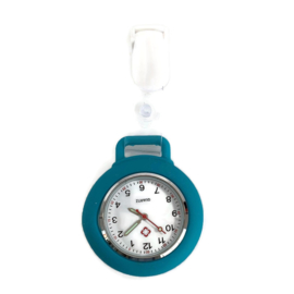 Horloge met PU clip Pastel - Petrol