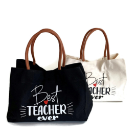 Canvas shopper - schoudertas - Meester/ juf / docent Zwart