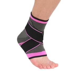 Elastische enkelbandage sportbrace grijs/roze