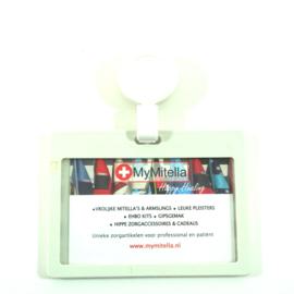 Badge/ID holder + zipper Wit