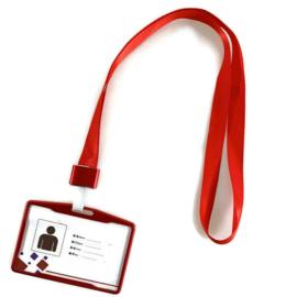 Metalic Pashouder - Badgeholder + Lanyard - Rood